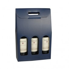 Wine Carrier Bag 37.5 cm x 25 cm x 9 cm blue for 3 bottles
