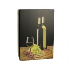 "Gift box for bottles of wine 36 cm x 25 cm x 9 cm black ""White wine"" for 3 bottles"