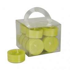 12 Tealights Ø 38 mm · 18 mm kiwi in polycarbonate cup, completely colored