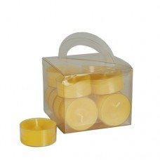 12 Tealights Ø 38 mm · 18 mm yellow in polycarbonate cup, completely colored