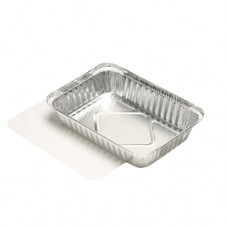 5 Dishes with lids made of PE coated cardboard square 0.8 l 4 cm x 15 cm x 21.4 cm