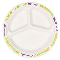 """50 Plates, wood pulp 3-compartments Ø 26 cm · 3 cm white """"Flavour"""""""