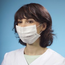 50 Fleece face mask 3-layer 17.5 cm x 9 cm white with shackle