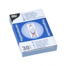 30 Sanitary bags 28.5 cm x 8 cm x 7 cm white in dispender carton