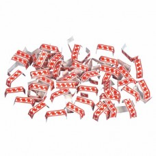 1000 Closing-clips made of wired paper 3.4 cm x 0.8 cm x 0.1 cm red/white