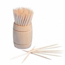 "200 Toothpicks, wood ""pure"" round 6.8 cm in wooden dispenser"