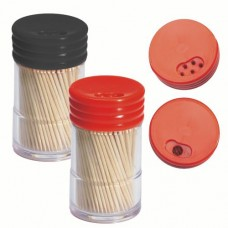 260 Toothpicks, wood round 6.5 cm in dispenser with rotating seal