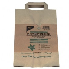 """15 Compost bags with handle 10 l 28 cm x 22 cm x 14 cm brown """"Printed"""""""