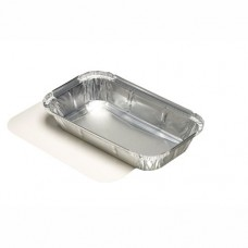 10 Dishes made of aluminium with lids made of PP coated cardboard square 0.65 l 3.4 cm x 13 cm x 22 cm for Lasagne