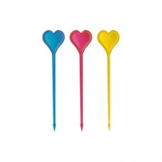 "50 Party picks, PS 8.5 cm colours assorted ""Heart"""