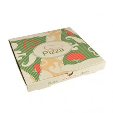 """100 Pizza boxes of 100% cellulose """"pure"""" square 26 cm x 26 cm x 3 cm"""