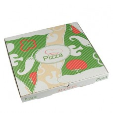 """100 Pizza boxes of 100% cellulose """"pure"""" square 33 cm x 33 cm x 3 cm"""
