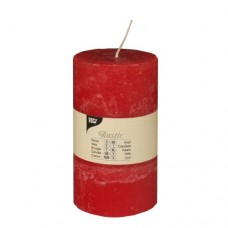 "Cylinder candles Ø 70 mm · 130 mm red ""Rustic"" completely coloured"