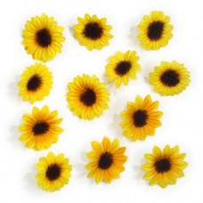 """12 Deco accessories yellow """"Sunflowers"""" assorted"""