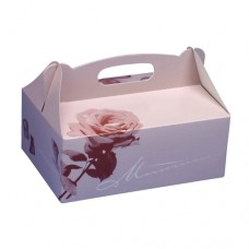 20 Cake boxes with handle square 20 cm x 13 cm x 9 cm rosé with handle