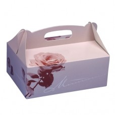 15 Cake boxes with handle square 23 cm x 16 cm x 9 cm rosé with handle