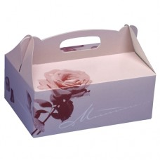 15 Cake boxes with handle square 26 cm x 22 cm x 9 cm rosé with handle