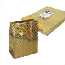 """10 Lacquer carrier bag 23 cm x 18 cm x 10 cm gold """"Holography"""""""