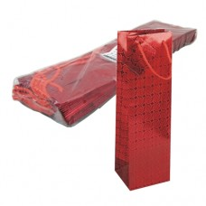 """10 Lacquer carrier bags, bottle 32 cm x 10 cm x 9 cm red """"Holography"""""""