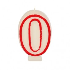 "Birthday candles 7.3 cm white ""0"" with red edge"