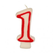 "Birthday candles 7.3 cm white ""1"" with red edge"