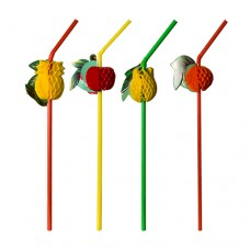 """6 Flexible drinking straws Ø 5 mm · 24 cm colours assorted """"Fruits"""""""