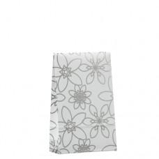 "20 Gift bags 15.5 cm x 10 cm x 4 cm ""Silver Flower"" small"