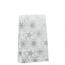 "20 Gift bags 23 cm x 14 cm x 5.5 cm ""Silver Flower"" medium"