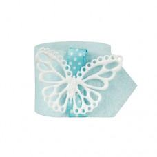 """4 Napkin rings Ø 4 cm light blue """"Butterfly"""""""