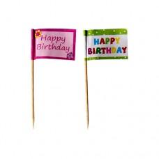 "20 Party picks 8 cm ""Happy Birthday"""
