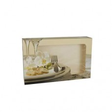 """5 Transport and catering boxes 8 cm x 36 cm x 25 cm """"Orchid"""" with window, one-piece"""