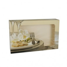 """5 Transport and catering boxes 8 cm x 46 cm x 31 cm """"Orchid"""" with window, one-piece"""