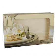 """5 Transport and catering boxes 8 cm x 55 cm x 37.5 cm """"Orchid"""" with window, 2-pieces"""
