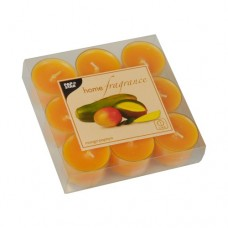 9 Scented lights Ø 38 mm · 25 mm orange - Mango-Papaya in polycarbonate cup