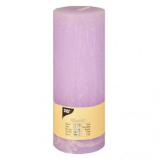 "Cylinder candles Ø 70 mm · 190 mm lilac ""Rustic"" completely coloured"