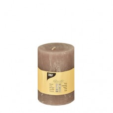 "Cylinder candles Ø 70 mm · 100 mm taupe ""Rustic"" completely coloured"