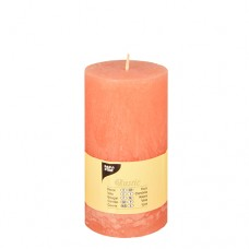 "Cylinder candles Ø 70 mm · 130 mm nectarine ""Rustic"" completely coloured"