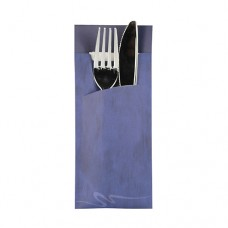 520 Bags for cutlery 20 cm x 8.5 cm blue incl. white napkin 33 x 33 cm 2-ply