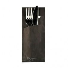 520 Bags for cutlery 20 cm x 8.5 cm black incl. white napkin 33 x 33 cm 2-ply