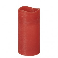 """LED Pillar candle Ø 75 mm · 150 mm red """"Rustic"""" batteries included"""