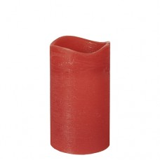 """LED Pillar candle Ø 75 mm · 125 mm red """"Rustic"""" batteries included"""