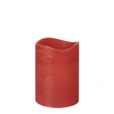 """LED Pillar candle Ø 75 mm · 100 mm red """"Rustic"""" batteries included"""