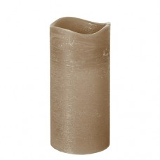 """LED Pillar candle Ø 75 mm · 150 mm taupe """"Rustic"""" batteries included"""