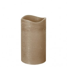"""LED Pillar candle Ø 75 mm · 125 mm taupe """"Rustic"""" batteries included"""