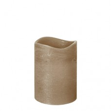 """LED Pillar candle Ø 75 mm · 100 mm taupe """"Rustic"""" batteries included"""