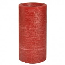 """LED Pillar candle Ø 100 mm · 200 mm red """"Rustic"""" with batteries and timer"""