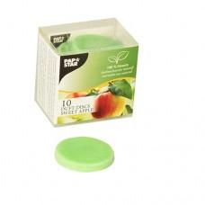 10 Scented discs, stearin Ø 35 mm · 5 mm green - Sweet Apple
