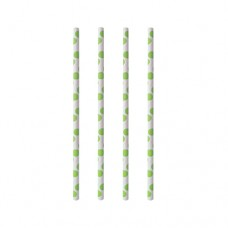 "100 Drinking straws made of paper Ø 6 mm · 20 cm ""green Dots"""