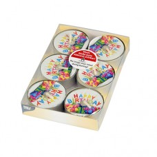 "6 Tealights with design Ø 38 mm · 15 mm ""Happy Birthday"""