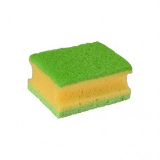 2 Pan sponges, fleece 9.5 cm x 7 cm x 4.5 cm yellow/green with handle groove, 3-ply